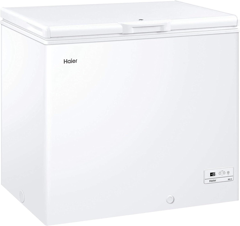 Haier HCE203F - Arcon congelador, 198 litros, Función super congelación, Cesto metálico, Display digital, Interior aluminio, Clase A+