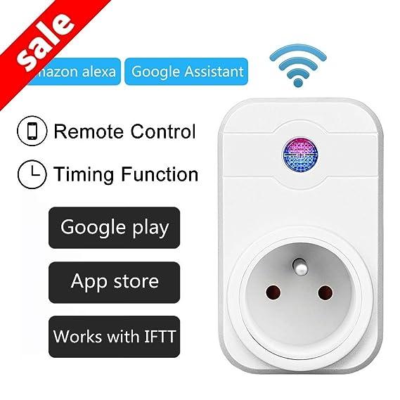 Intelligente PriseWiFi,HORSKY Prise Connectée Intelligente WiFi Prise  Compatible avec Android iOS AlexaPrise Courant Intelligente Prise de  Courant