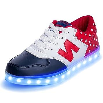 iFresh Zapatillas Luminosas con 8 Colores USB Carga Luz LED Light Up Flashing Zapatos Deportivos Unisexo Niño Hombre Mujer Ligero Cómodo Talla 35 Rojo: ...