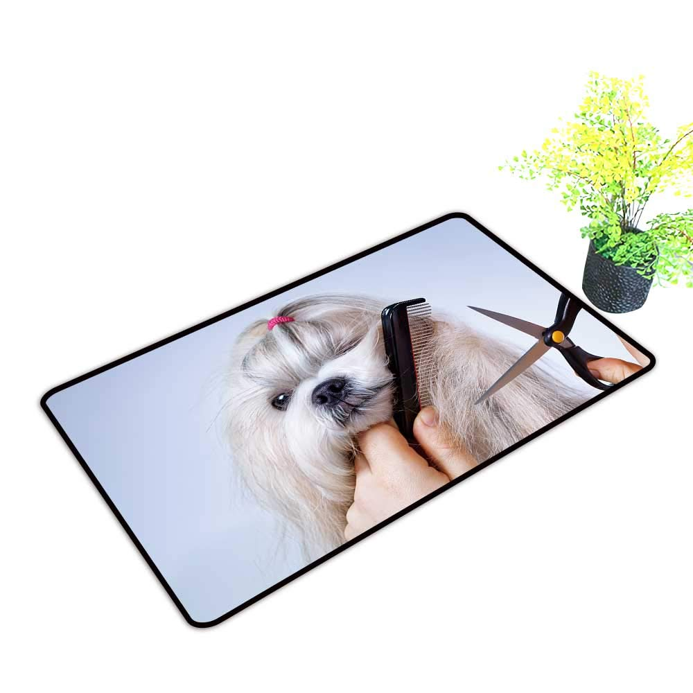 gmnalahome Super Absorbs Mud Doormat Shih tzu Dog Grooming with Comb and Scissors No Odor Durable Anti-Slip W35 x H23 INCH