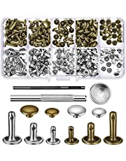 Quesuc 120 Set Leather Rivets Double Cap Rivet Buttons with Setting Tool Kit and Storage Box for DIY Leather Craft, 3 Sizes (Silver and Bronze)