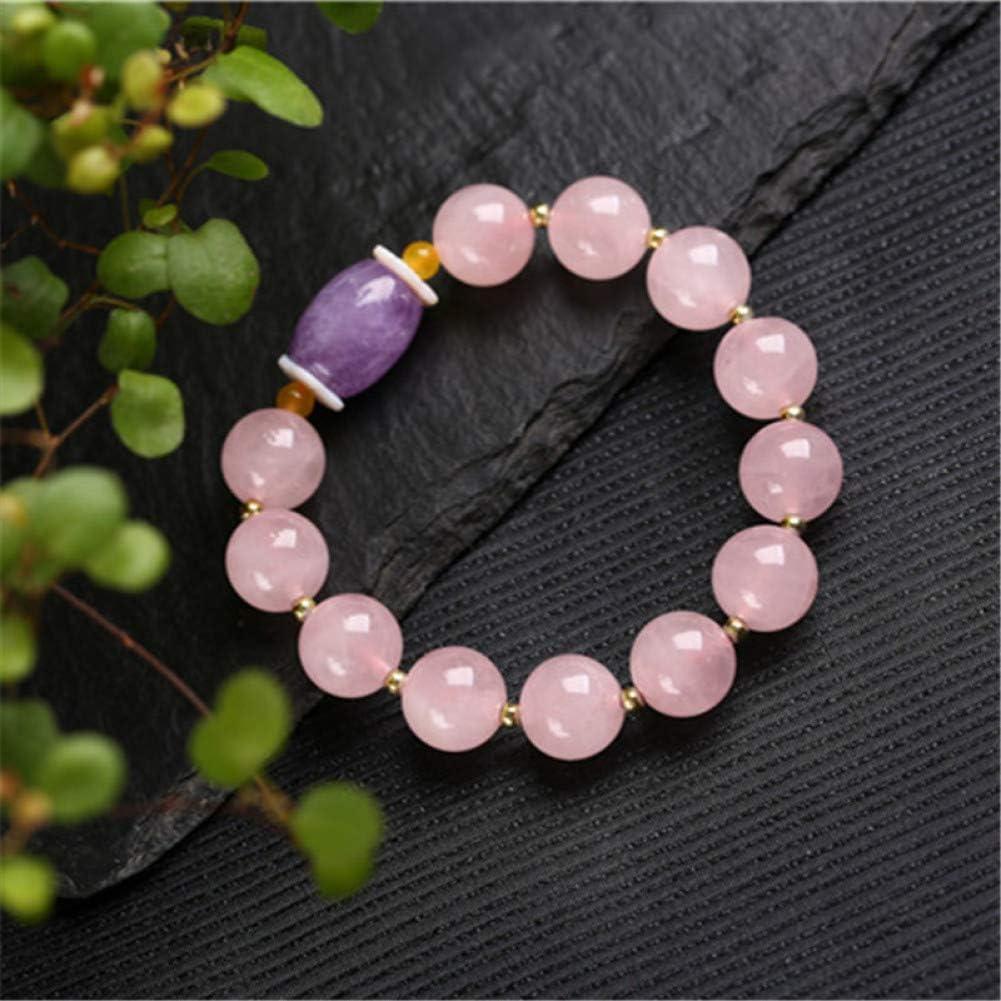 N/ A Pulseras de Piedra Natural Hechas a Mano de 12 mm Pulsera de Mujer Pulsera de Cristal curativo Amatista de Cuarzo Rosa
