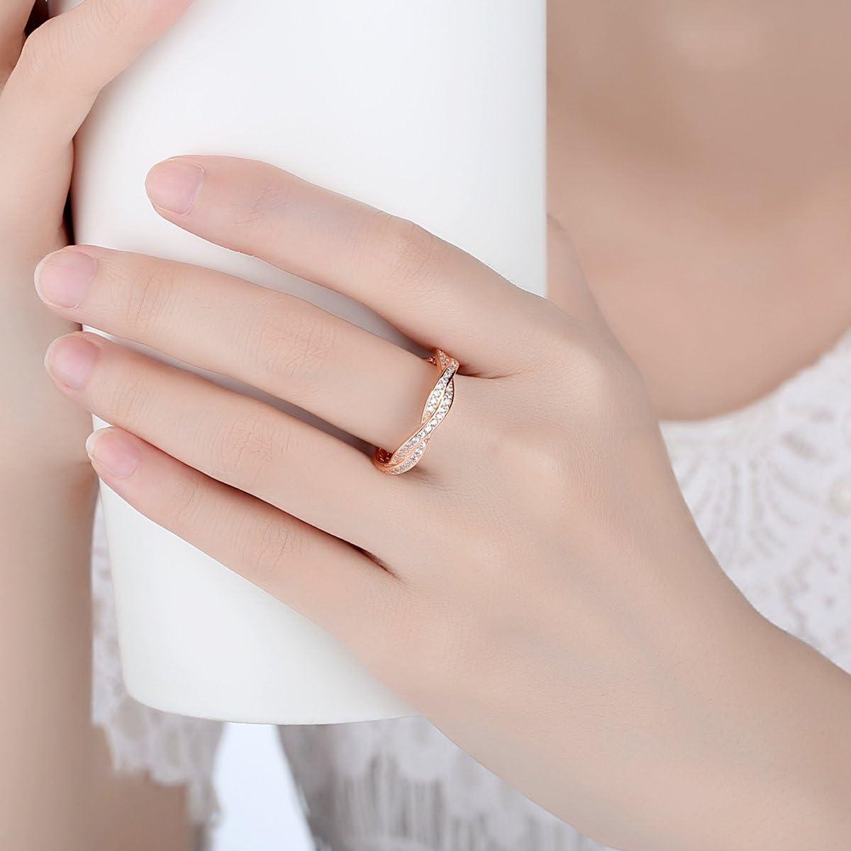 Presentski Donna Cubic Zirconia 925 Silver Rose Wedding Ring placcato oro