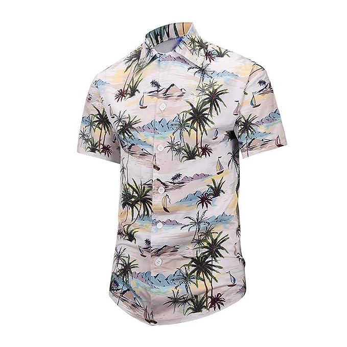 a2c1efde Amazon.com: RNTOP Men's Hawaiian Shirt Short Sleeve Aloha Shirt Beach Party  Tree Print Tops Holiday Casual Shirts: Clothing