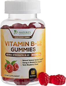 Vitamin B12 Gummies, High Absorption Vitamin B-12 3000mcg, Plant-Based Vegan Gummy, Normal Energy and Metabolism Support, Natural Raspberry Flavor, Non-GMO, for Adults and Kids - 60 Gummies