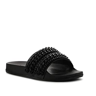 75d186a37471 CAPE ROBBIN Moira-18 Women Metallic Chained Flat Sandal - Casual Lounge Street  Fashion Open