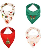 Baby Bandana Bib for Christmas, Set of 4 Soft and Absorbent Cute baby bibs for Teething Drooling, Perfect Baby Shower Gift Set by Little Dimsum