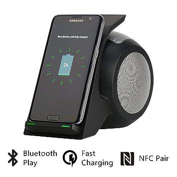 AZWE Cargador inalámbrico rápido con altavoz Bluetooth ...