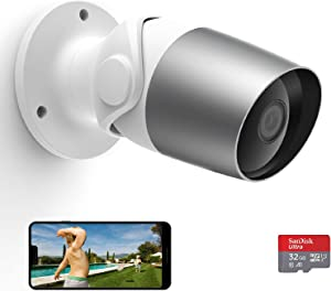 Outdoor Security Camera, WiFi IP Cameras Indoor, Outside, O1 Home Surveillance Camera Compatible with Alexa, IP65 Waterproof, Night Vision, 2 Way Audio,1080P Video with 32G SD Card