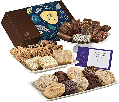 Fairytale Brownies Thank You Ultimate Bar, Sprite & Cookie Combo Gourmet Food Gift Basket Chocolate Box - 3 Inch x 1.5 Inch Snack-Size Brownies Plus Blondie Bars and Cookies - 36 Pieces