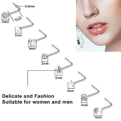 ONESING 48 Pcs 18G 20G 22G Nose Rings for Women Septum Ring Hoop Nose Rings L Shape Nose Studs 316L Stainless Steel Nose Ring Piercing Jewelry for Women Men