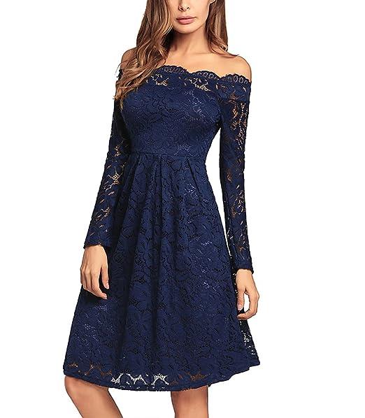 Vestido de Noche de Encaje con Hombros Descubiertos Vestido Vintage de Encaje de Flores con Encaje