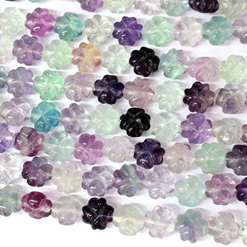 Carved Natural Genuine Fluorite Flower Gemstone Jewelry Making Loose Beads - Carved Beads Flower Gemstone