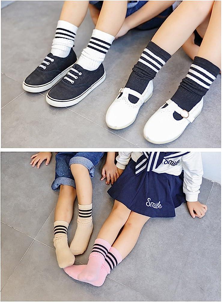VWU 6 Pack Little Girls Boys Tube Socks Stripe Knee High Socks 1-8 Years