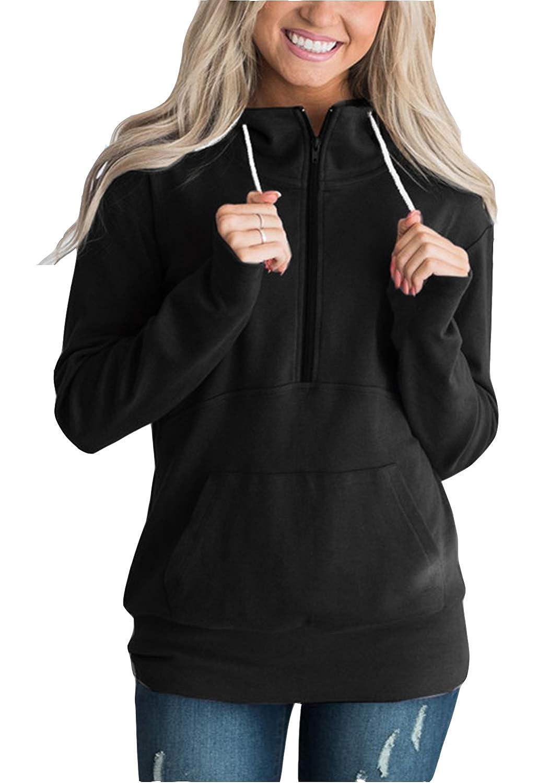 Black FEIYOUNG Women Long Sleeve Kangaroo Pocket Zipper Neck Sweatshirt Basic Hoodies Coats