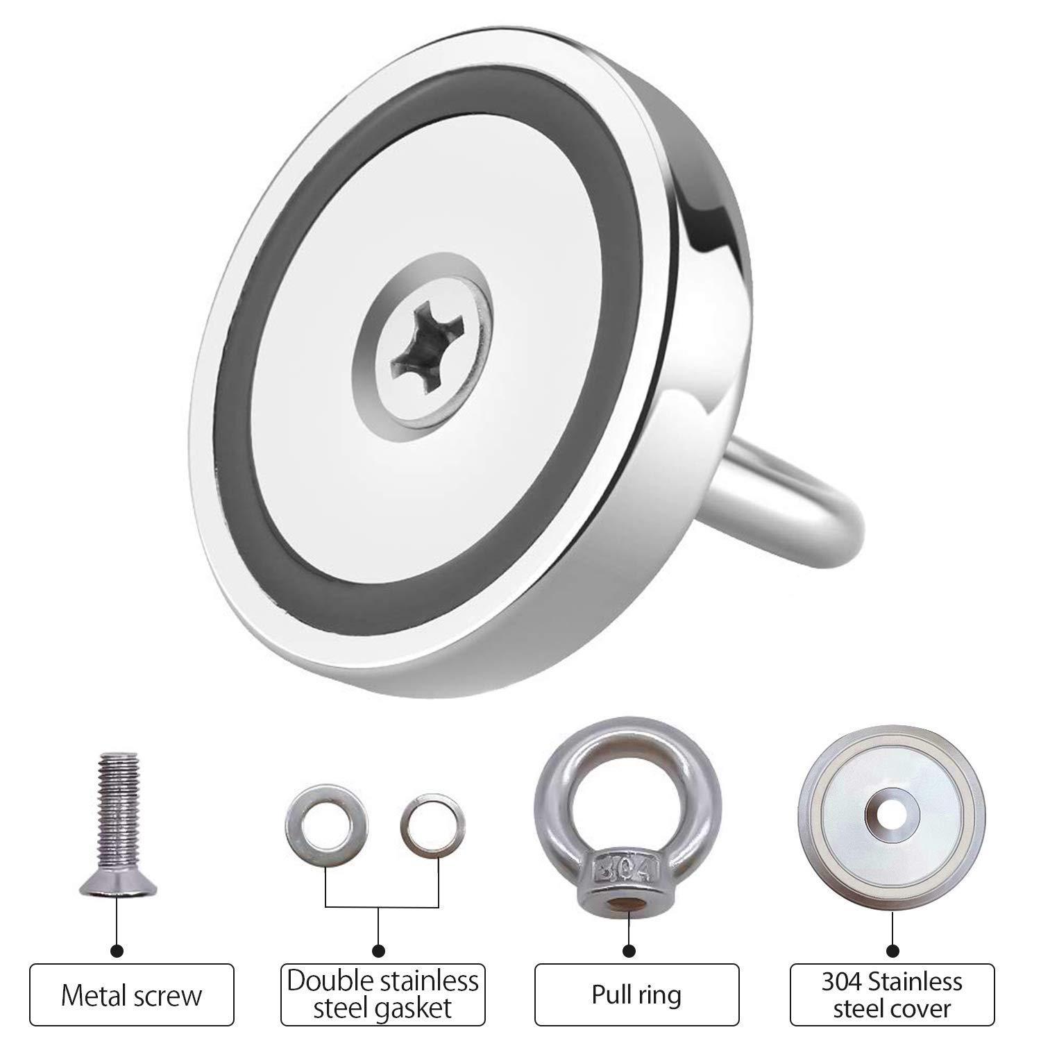 River Rare Earth Large Round Magnet with Eyebolt for Magnetic Fishing 75mm Diameter Fishing Magnet Kit Salvage 600lbs Pulling Force Super Strong Neodymium Fishing Magnets with Rope /& Gloves