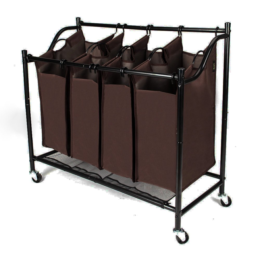 Bonnlo Heavy-Duty 4-Bag Laundry Sorter Cart Rolling Sorting Hamper with Removable Bags & Wheels, Black
