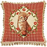Corona Decor French Woven Jacquard Kitten Feather and Down Filled Decorative Pillow