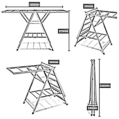 Hpll Drying Rack Floor Standing Folding Airfoil Indoor Balcony Three