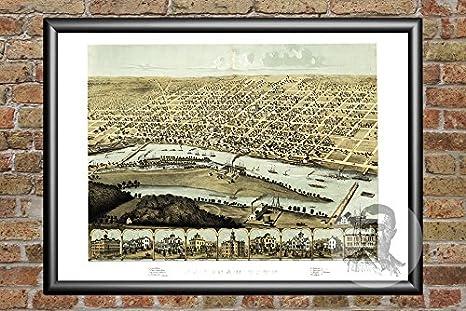 Amazon Com Ted S Vintage Art Saginaw Michigan 1867 Vintage Map Print Historic Saginaw County Mi Art Digitally Restored On Museum Quality Matte Paper 18 X 24 Posters Prints