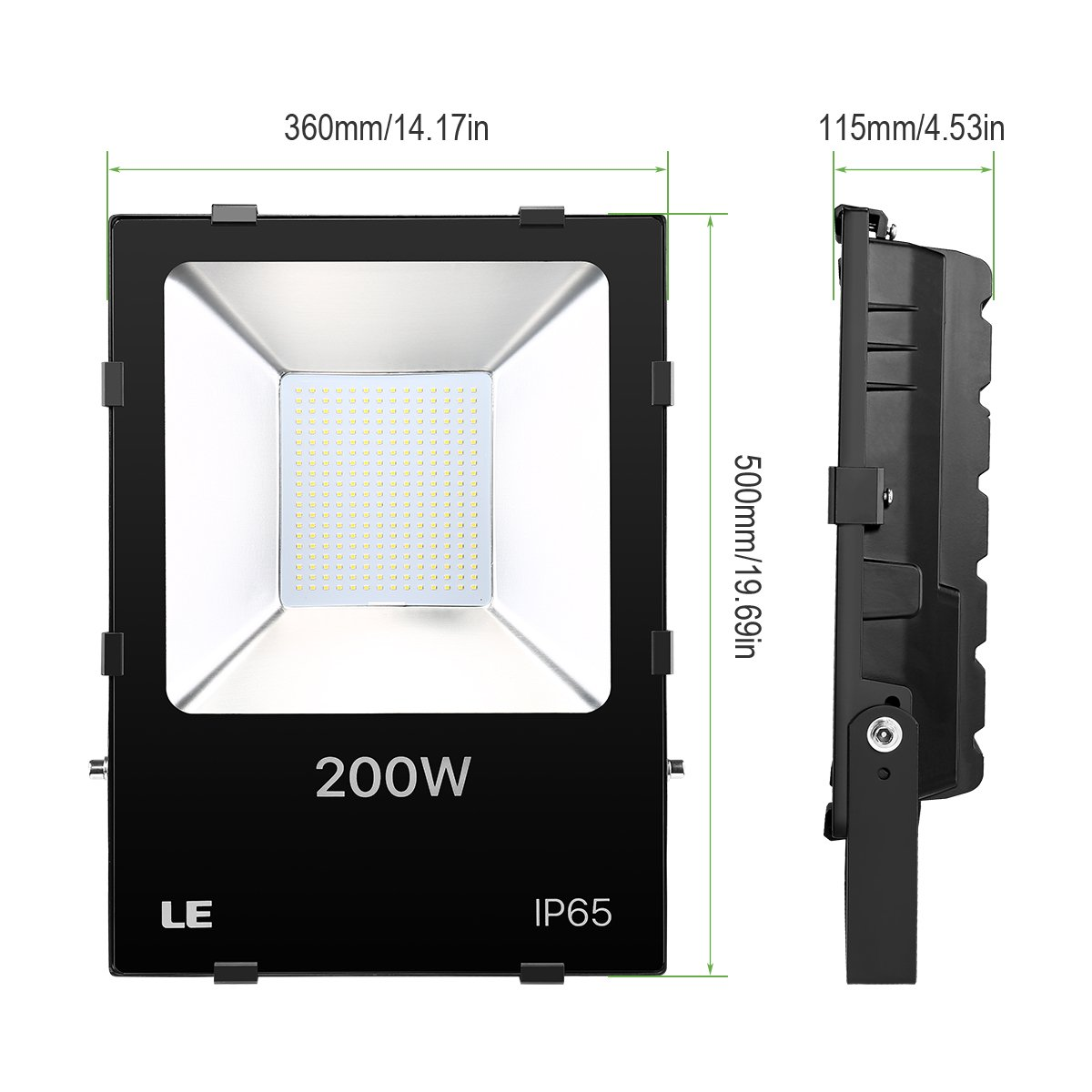 LE 200W Super Bright Outdoor LED Flood Lights, Daylight White, 5000K, 600W HPSL Equivalent Security Lights, Floodlight (ETL Listed) by Lighting EVER (Image #5)