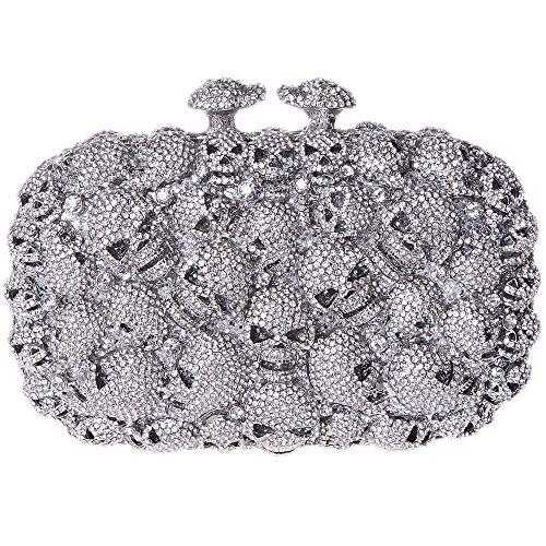 Kisslock Black Halloween Girls Silver Bags For Shape Skull Bonjanvye Studded Clutch Evening nw1q606g
