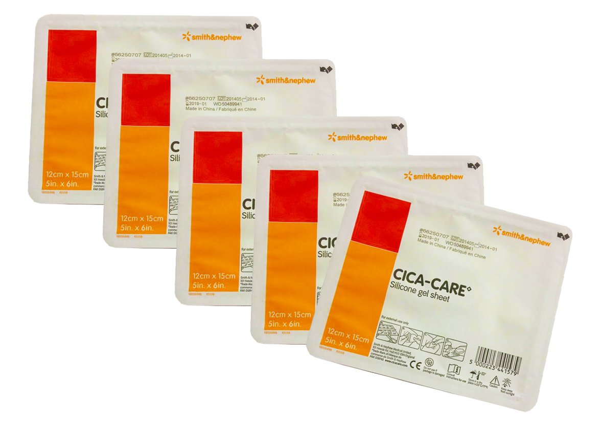 Cica Care Silicone Gel Sheeting 5 x 6 Inch, Sterile 5 packs by Smith & Nephew