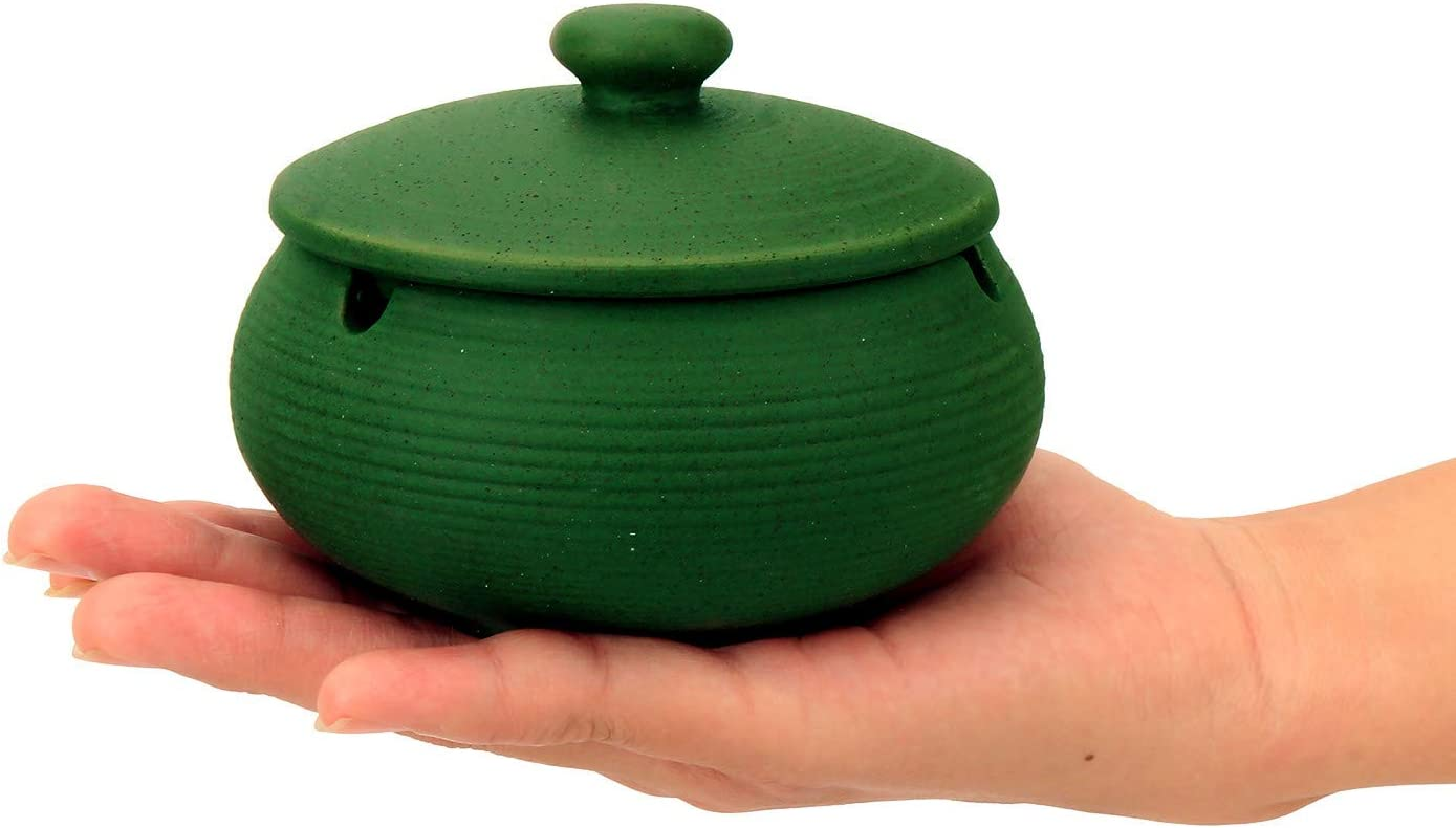 K COOL Small Ceramic Ashtray with Lid for Cigarette Windproof Cigarette Ashtrays for Indoor Outdoor Odor Ash Holder for Smokers Desktop Smoking Ash Tray for Home Office (Antique Dark Green)