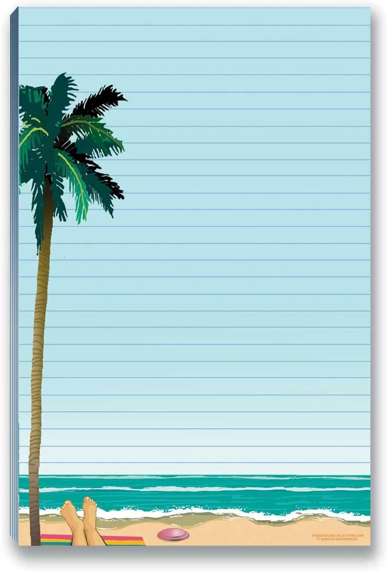 Beach Notepads with Magnet - Magnetic Beach Notepads for Fridge - Do Do List, Grocery List (Palm Tree)