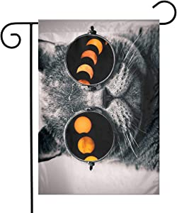 seaEagle Cat Glasses Total Solar Eclipse Outdoor Banners Decoration Garden Flag 12 X 18 Inches