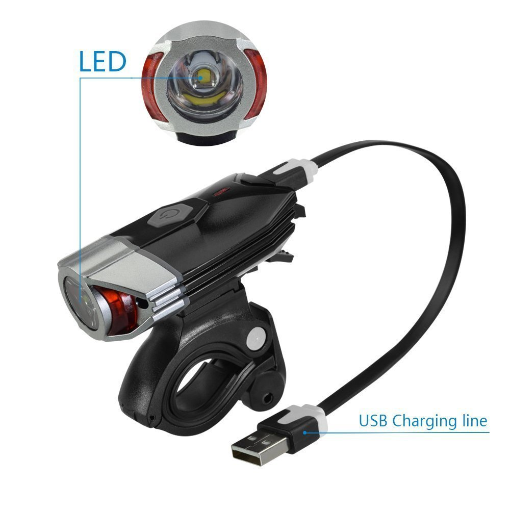 USB Rechargeable Bike Light, ProCIV USB Rechargeable Bike Light Set with Led Tail Light, Waterproof, 4 Modes Compatible with Mountain, Road, Kids & City Bicycle