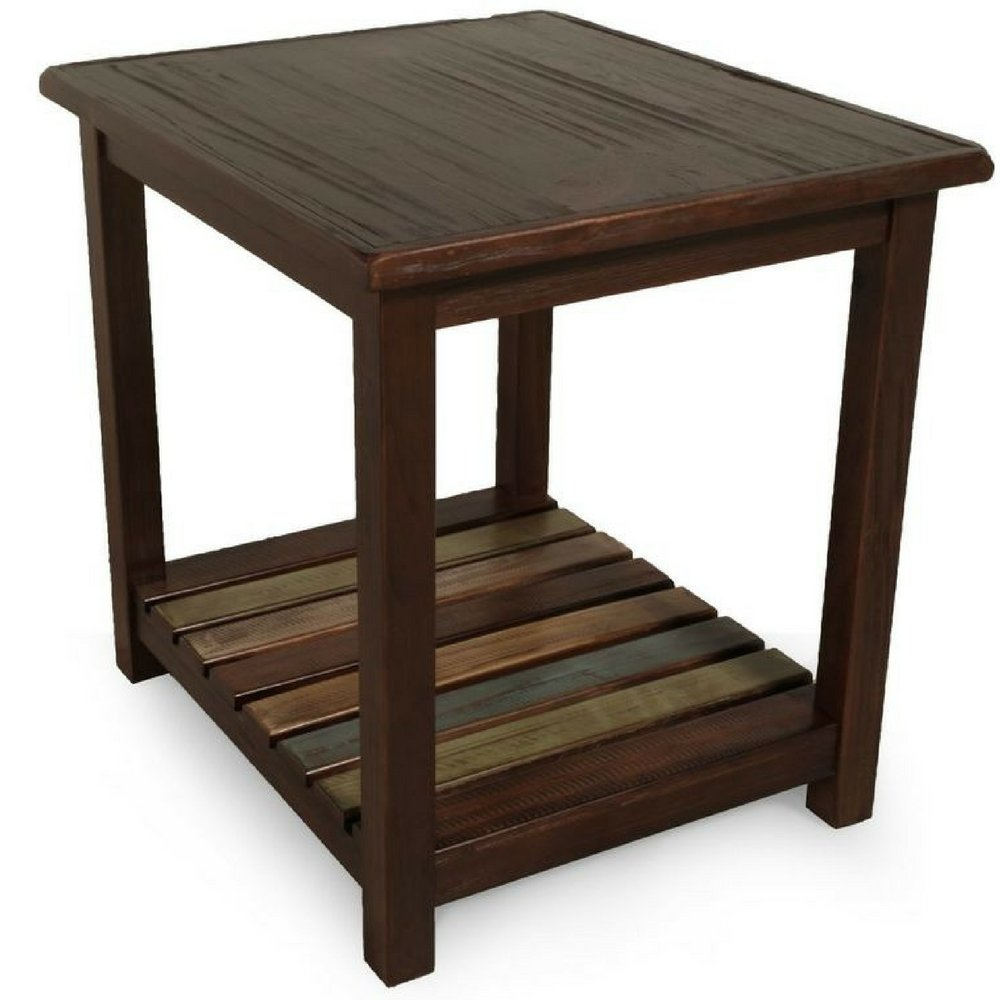 Rustic dark wood end table side chairside accent table reclaimed wooden veneers entryway vintage living room with shelves contemporary farmhouse traditional