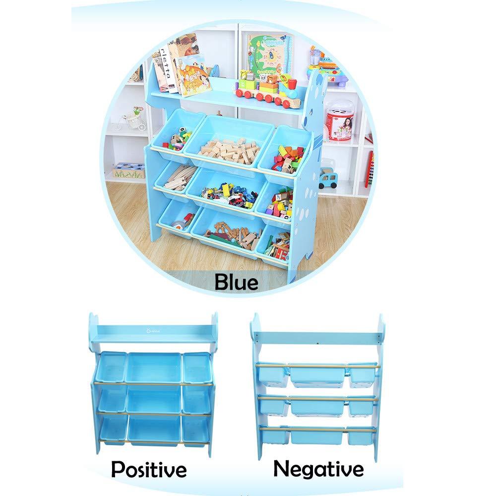 Novania Wood Book Shelf Organizer Toddler's Toy Storage Organizer with 9 Plastic Shelf Drawer for Kid's Bedroom Playroom