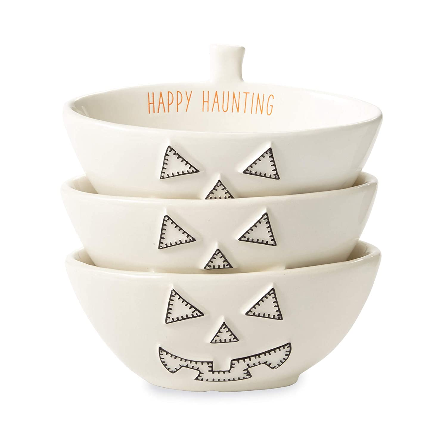 White Mud Pie 4855084P Nested Pumpkin Set of 3 Dip Cup Set One size