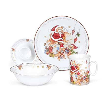 Hoomeet Porcelain Dinnerware Set 4-Piece Christmas Bear Tableware Set Ceramic  sc 1 st  Amazon.com : christmas stoneware dinnerware sets - pezcame.com