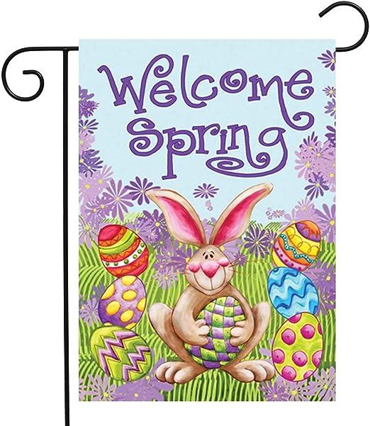 Amycute - Banderas de Pascua para jardín, Banderas de Conejo Happy Pascua, decoración, Festival, hogar, Banderas para Interiores y Exteriores, decoración para el hogar, Banderas Decorativas: Amazon.es: Jardín
