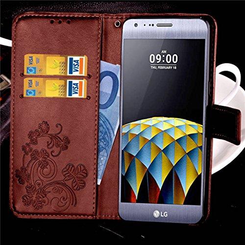 Erdong® funda Para LG X Cam K580, Flip Book-style Superior Rose PU de la carpeta de cuero de diseño [impresión flor] Con la función del soporte y ranuras titular de la tarjeta para LG X Cam K580, Gris Marrón
