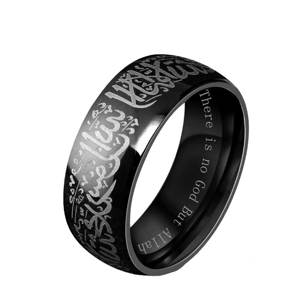 HIJONES Men's Stainless Steel Muslim Islamic Ring with Shahada in Arabic & English Black Size 10
