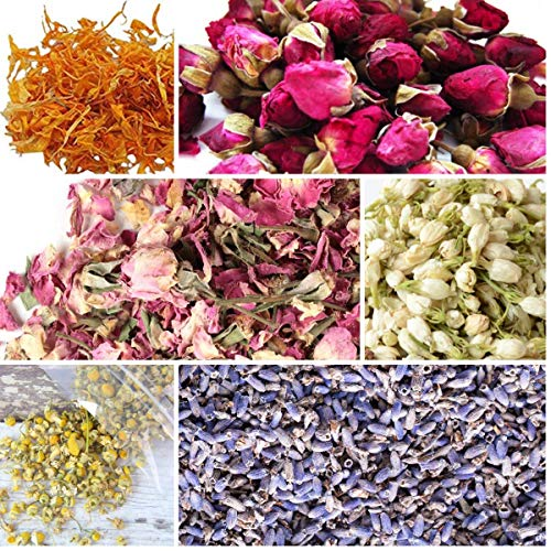 bMAKER Bulk Botanical Flowers Kit, 6 Pack - Edible, Kosher Certified - 1.5 Cups Each of Jasmine, Rosebuds, Lavender, Marigold, Chamomile, Pink Rose Petals, 2 ml of Rose Absolute Essential Oil (Dried Flower Buds)