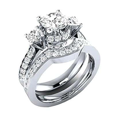 Luxury and Shining Womens 2-in-1 White Diamond Silver Engagement Wedding Band Ladies Rings: Clothing