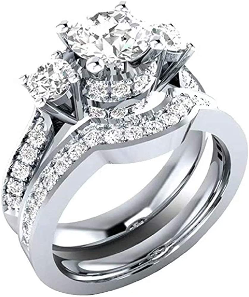 Luxury and Shining Womens 2-in-1 White Diamond Silver Engagement Wedding Band Ladies Rings