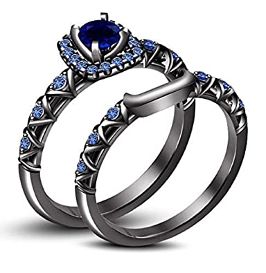 Amazon Com Dreamjewels 14k Black Gold Plated Round Blue Sapphire