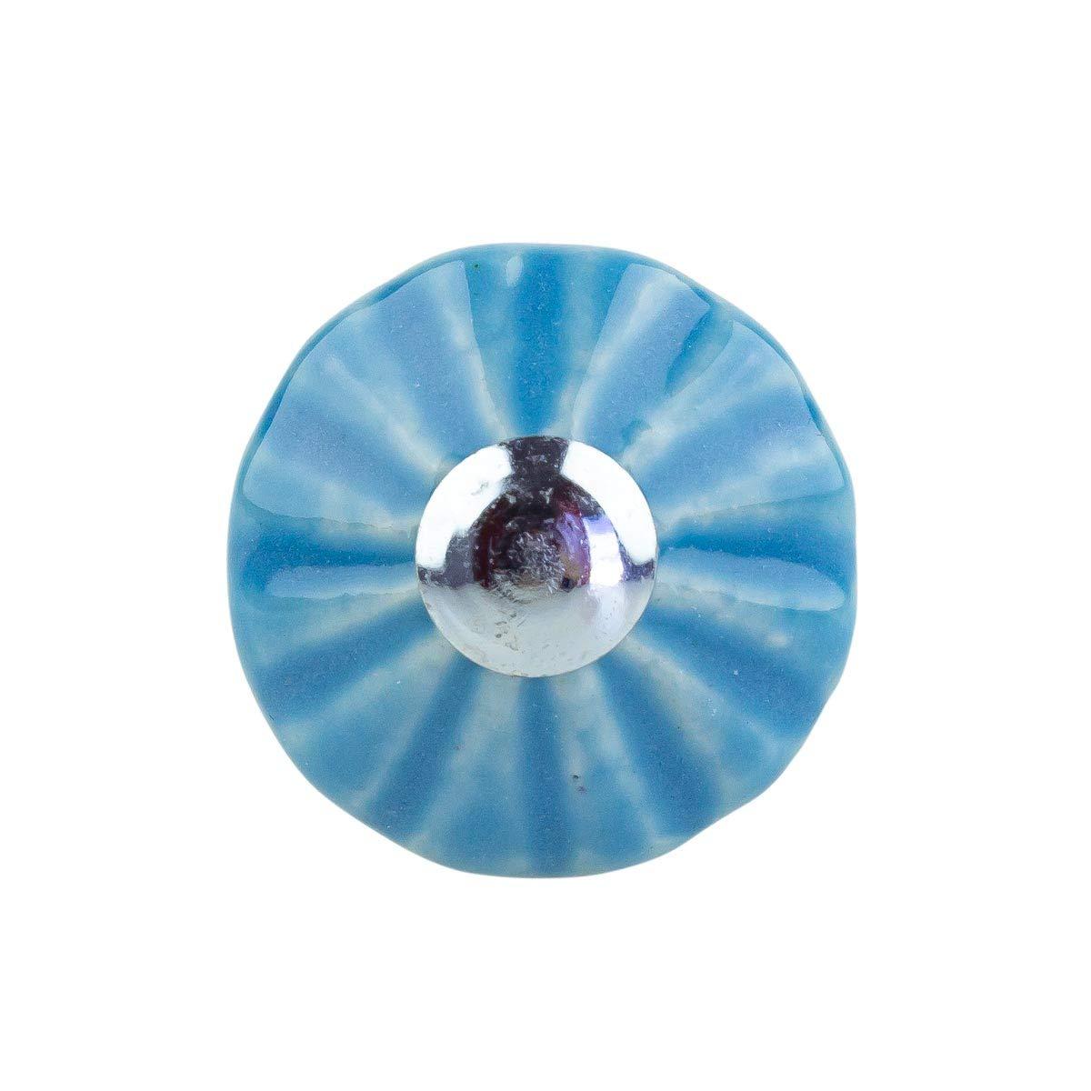 in ceramica e porcellana stile shabby chic colore: blu Set di 6 pomelli per mobili Jay Knopf /® 249