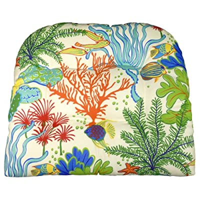 Patio Chair Cushion - Tropical Fish - Indoor / Outdoor: Mildew Resistant, Fade Resistant - Reversible, U Shaped, Tufted Seat Cushion, Box Edge Chair Pad - Outoor Furniture Replacement Cushion for Patio Armchair