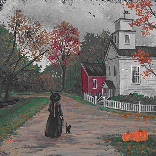 Salem Town Halloween (8X8 PRINT OF ORIGINAL PAINTING RYTA HALLOWEEN WITCH BLACK CAT SALEM SLEEPY HOLLOW LANDSCAPE TOWN AUTUMN SEASONAL DESIGN DECOR DECORATION HOME HOUSE INTERIOR FINE WALL)