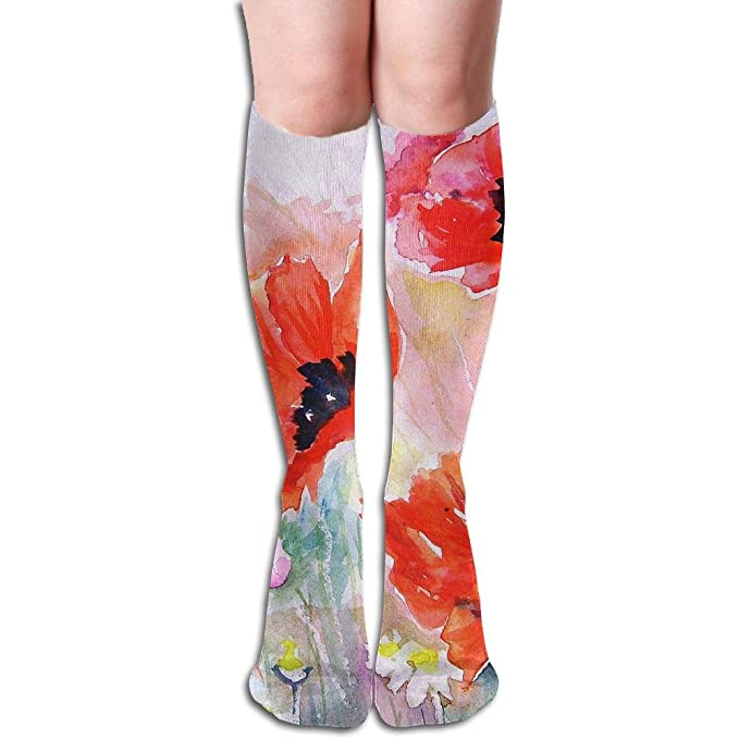 8972b5cd106c1 Tube High Keen Sock Boots Crew Poppy Flowers Compression Socks Long ...