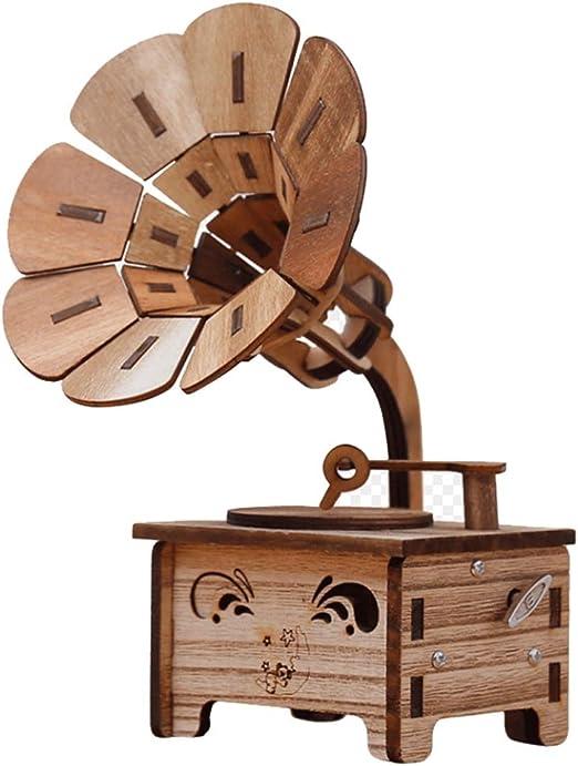 LHs stores Caja Musical Caja de música de Madera Creativa con fonógrafo, Caja de música Decorativa Retro DIY Regalo de cumpleaños para niños Día de San Valentín Cajas de Musica: Amazon.es: Hogar