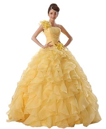 64f7016d0dae2 cnstone カラードレス 黄色 イエロー 演奏会用ドレス ロングドレス 艶感フリル お花コサージュ