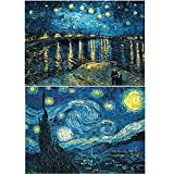 5D imitation diamond painting set, starry night design, comes with full drill, cross stitch canvas, art with numbers, 2 Starry Night package (30x40cm / 12x16inch each)