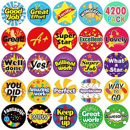 "Yoklili Pack of 4200 3/4"" Teacher Reward Motivational Stickers for Kids, Incentive Sticker for Children Students Classroom, 24 Designs"